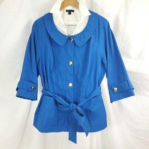 Lane Bryant Size 20 Jacket Blue Textured Peter Pan